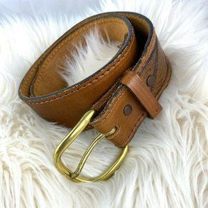 Tony Lama tooled leather belt brown gold Sz 28 S